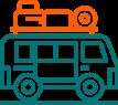 Icono de camper-van con maletas